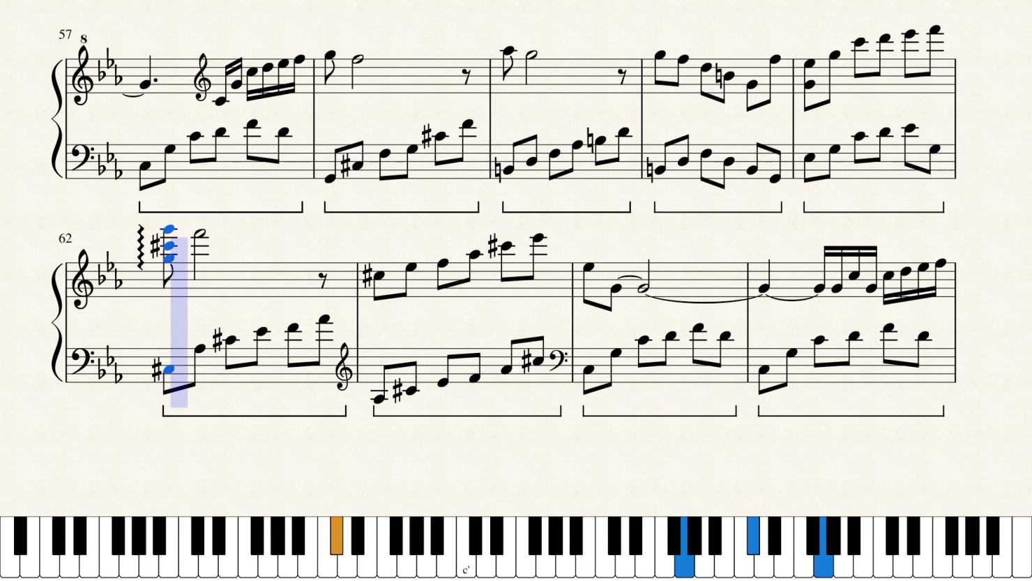 Scrolling sheet music video from MuseScore