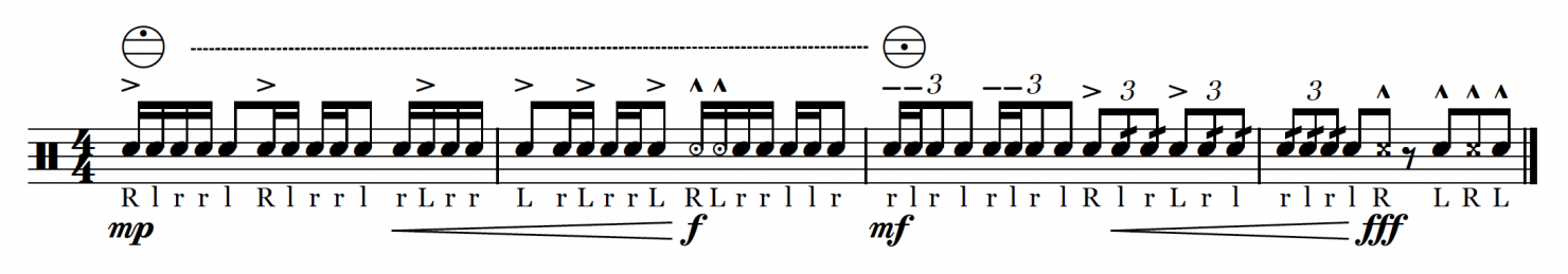 Marching snare score excerpt showing pictogram notation