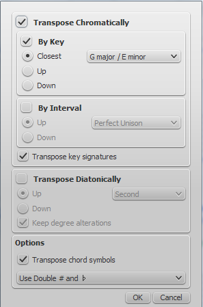 how to transpose musescore