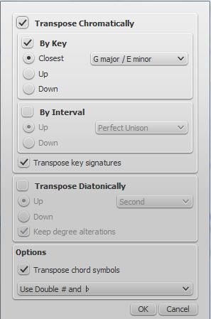 Dialog pro transpozici
