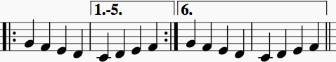 Sample first-through-fifth ending followed by sixth ending